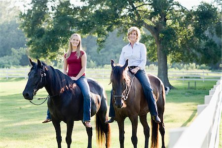 Mother and Daughter Horseback Riding Stock Photo - Rights-Managed, Code: 700-03596304