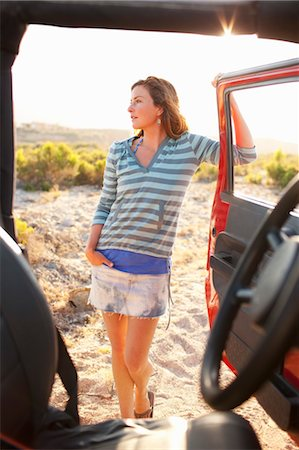 Woman Standing by 4x4 Vehicle in the Desert at Sunset, Near Cabo Pulmo, Baja California Sur, Mexico Stock Photo - Rights-Managed, Code: 700-03616021