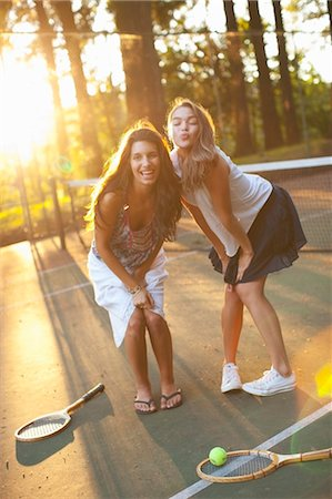 Two Young Women Tennis Court Stock Photo - Rights-Managed, Code: 700-03613054