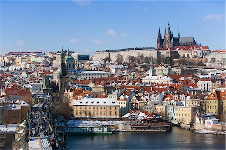 small town snow - Prague Castle and Saint Vitus Cathedral, View From Charles Brige, Prague, Czech Republic Stock Photo - Rights-Managed, Code: 700-03622831