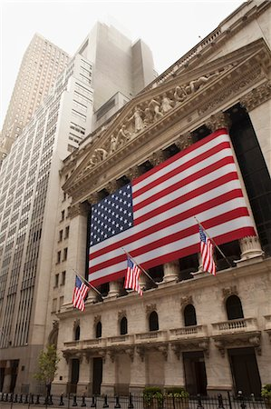 stock exchange building - New York Stock Exchange on July 4th, Wall Street, Manhattan, New York City, New York, USA Stock Photo - Rights-Managed, Code: 700-03622912