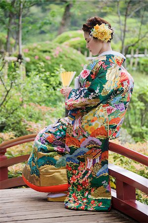 Bride in Japanese Wedding Gown, Hiroshima, Hiroshima Prefecture, Chugoku Region, Honshu, Japan Stock Photo - Rights-Managed, Code: 700-03638968