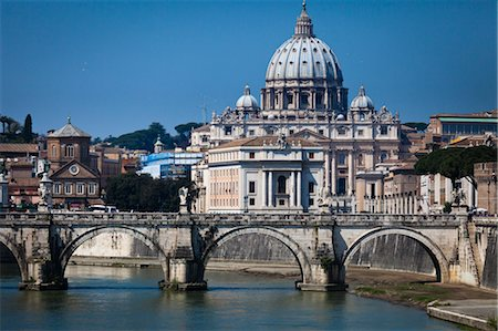 Saint Peter's Basilica and Ponte Sant'Angelo, Rome, Vatican City, Lazio, Italy Stock Photo - Rights-Managed, Code: 700-03639125