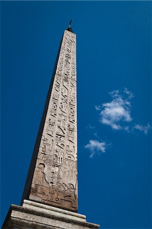 egyptian hieroglyphics - Obelisk, Piazza del Popolo, Rome, Italy Stock Photo - Rights-Managed, Code: 700-03639210