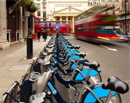 renting - Row of Barclays Cycle Hire Bicycles near Haymarket Theatre, Westminster, London, England Stock Photo - Rights-Managed, Code: 700-03639260
