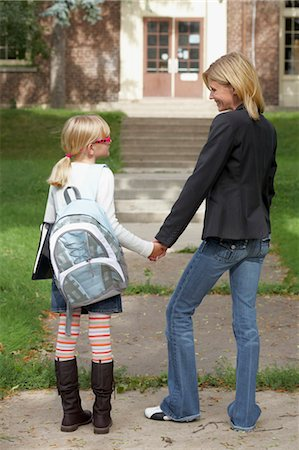 Mother Walking Daughter to School Stock Photo - Rights-Managed, Code: 700-03644810