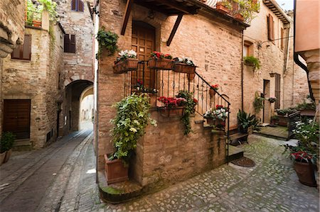 Cobblestone Street in Spello, Umbria, Italy Stock Photo - Rights-Managed, Code: 700-03641146