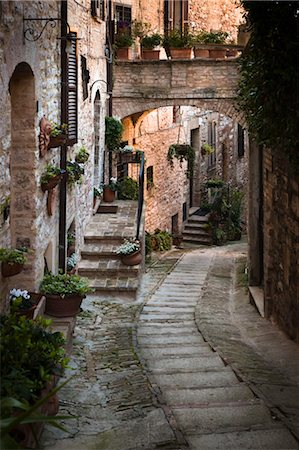 Cobblestone Street in Spello, Umbria, Italy Stock Photo - Rights-Managed, Code: 700-03641148
