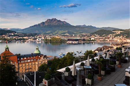 View of City and Lake Lucerne, Lucerne, Switzerland Stock Photo - Rights-Managed, Code: 700-03654565