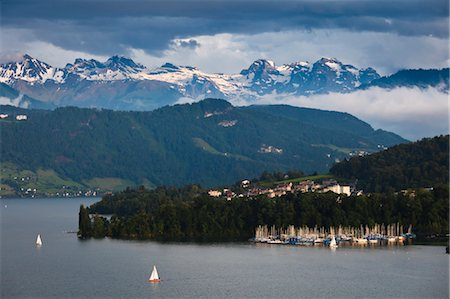 sports and sailing - View of Marina, Lucerne, Switzerland Stock Photo - Rights-Managed, Code: 700-03654637