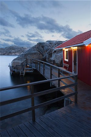 quaint house - Red Shanty at Night, Bohuslaen, Sweden Stock Photo - Rights-Managed, Code: 700-03659274