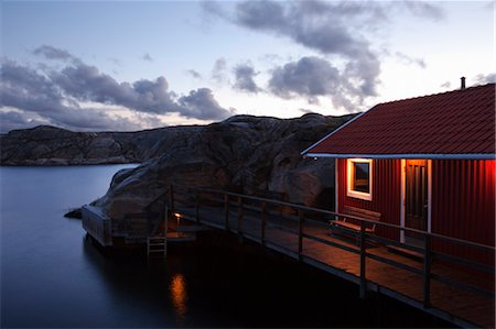 quaint house - Red Shanty at Night, Bohuslaen, Sweden Stock Photo - Rights-Managed, Code: 700-03659275