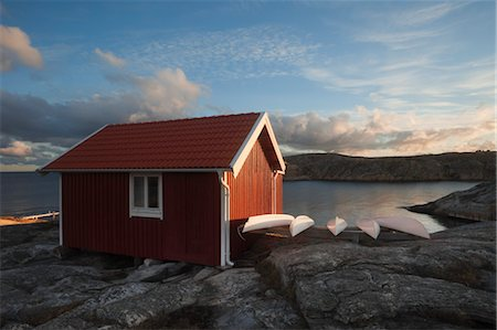 quaint house - Boat Hut at Sunrise, Bohuslaen, Sweden Stock Photo - Rights-Managed, Code: 700-03659276