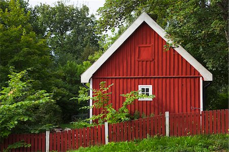 Red Wooden House Stock Photo - Rights-Managed, Code: 700-03659278
