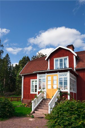 Red Wooden House, Katthult, Gibberyd, Smaland, Sweden Stock Photo - Rights-Managed, Code: 700-03659284