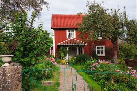 quaint house - Red Wooden House, Bullerbue, Smaland, Sweden Stock Photo - Rights-Managed, Code: 700-03659287