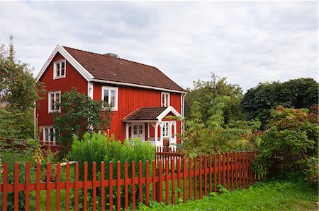 Red wooden house, Bullerbue, Smaland, Sweden Stock Photo - Rights-Managed, Code: 700-03659289