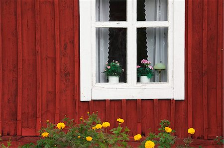 quaint house - Window and Flower Pots, Smaland, Sweden Stock Photo - Rights-Managed, Code: 700-03659291