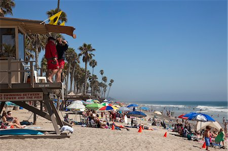 Lifeguards and Crowded Beach, San Clemente Beach, California, USA Stock Photo - Rights-Managed, Code: 700-03659307