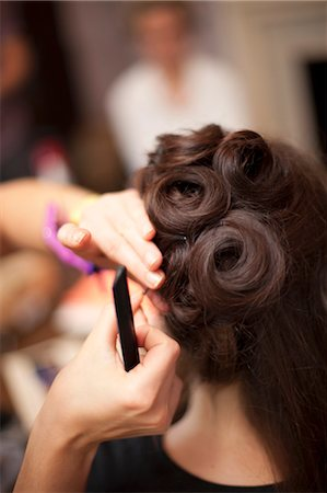 Bride Having Hair Done Stock Photo - Rights-Managed, Code: 700-03665609