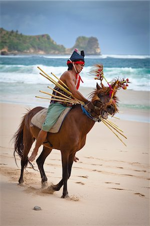 southeast asian - Pasola Warrior, Sumba, Indonesia Stock Photo - Rights-Managed, Code: 700-03665827