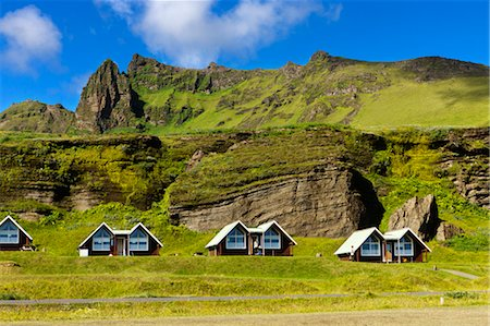 Cabins in Campground, Vik, Myrdalur, South Iceland Stock Photo - Rights-Managed, Code: 700-03660256
