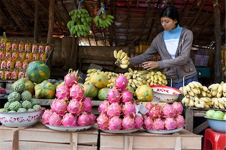 Vendor at Fruit Stand, Mount Popa, Myanmar Stock Photo - Rights-Managed, Code: 700-03685885