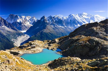 Overview of Aiguilles de Chamonix and Lac Blanc, French Alps, France Stock Photo - Rights-Managed, Code: 700-03682498