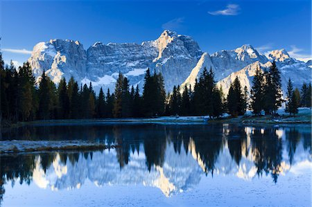 snow capped - Sorapis Mountain Reflecting in Antorno Lake, Dolomites, Italy Stock Photo - Rights-Managed, Code: 700-03682518