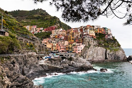european hillside town - Manarola, Cinque Terre, Ligurian Coast, Italy Stock Photo - Rights-Managed, Code: 700-03696800