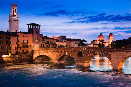 Ponte Pietra over Adige River, Verona, Veneto, Italy Stock Photo - Rights-Managed, Code: 700-03696841