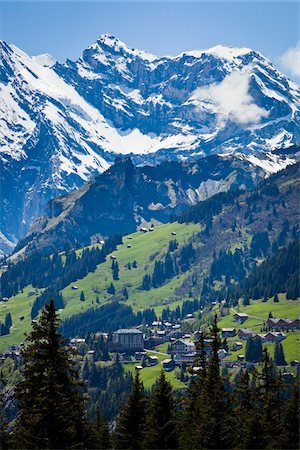 small town snow - Looking Towards Murren, Jungfrau Region, Bernese Alps, Switzerland Stock Photo - Rights-Managed, Code: 700-03696852