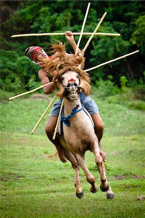 Pasola Warrior, Sumba, Indonesia Stock Photo - Rights-Managed, Code: 700-03696913