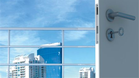 Open Door with View of Skyline Stock Photo - Rights-Managed, Code: 700-03692004