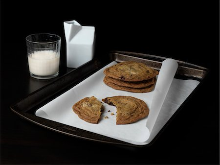 Chocolate Chip Cookies and Milk Stock Photo - Rights-Managed, Code: 700-03692052