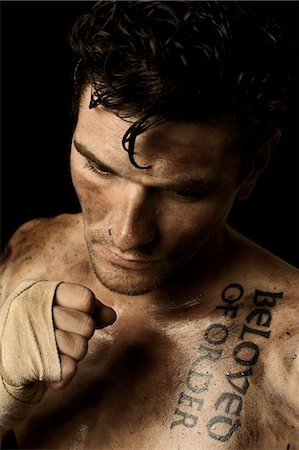 shirtless men - Dirty Man Wearing Hand Wraps Stock Photo - Rights-Managed, Code: 700-03692141