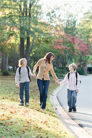 Mother Walking Sons to School Stock Photo - Rights-Managed, Code: 700-03719343