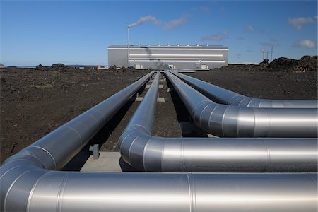 pipe (industry) - Pipes, Geothermal Energy Plant, Blue Lagoon, Grindavik, Reykjanes, South Iceland, Iceland Stock Photo - Rights-Managed, Code: 700-03720177