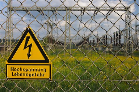Fence, Electrical Substation, Franconia, Bavaria, Germany Stock Photo - Rights-Managed, Code: 700-03720180
