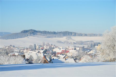 small town snow - Winter landscape, Aasen, near Villingen-Schwenningen, Black Forest-Baar District, Baden-Wurttemberg, Germany Stock Photo - Rights-Managed, Code: 700-03737960