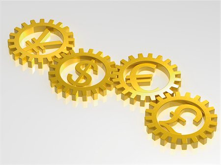 International Monetary Symbols in Gold Cogs Stock Photo - Rights-Managed, Code: 700-03738053