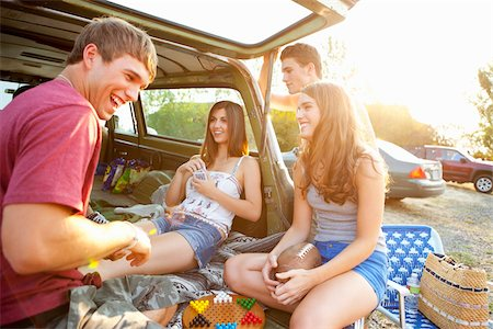 female rear end - Group of Teenagers Hanging Out at Drive-In Theatre Stock Photo - Rights-Managed, Code: 700-03738536