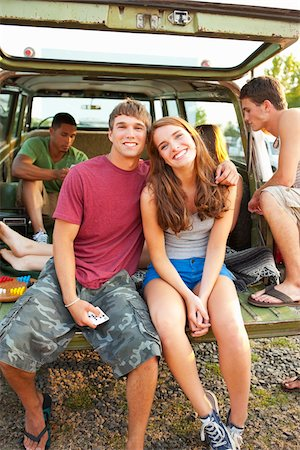 female rear end - Group of Teenagers Hanging Out at Drive-In Theatre Stock Photo - Rights-Managed, Code: 700-03738538