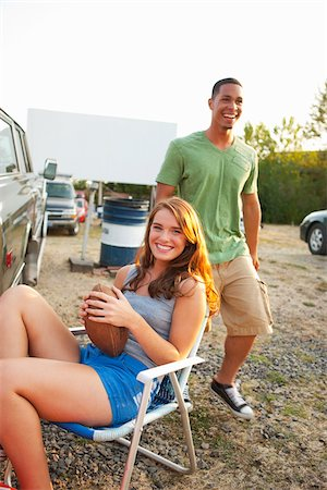 person walking on parking lot - Teenagers Hanging Out at Drive-In Theater Stock Photo - Rights-Managed, Code: 700-03738540