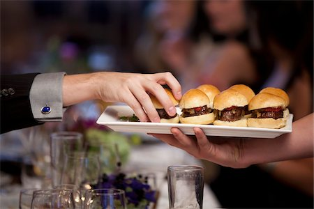 Burger Slider Appetizers Being Served Stock Photo - Rights-Managed, Code: 700-03738709