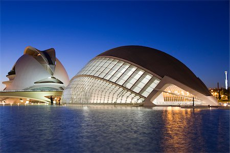 L'Hemisferic and Palau de les Art Reina Sofia at Night, City of Arts and Sciences, Valencia, Spain Stock Photo - Rights-Managed, Code: 700-03738850