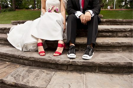 quirky - Bride and Groom Sitting Stock Photo - Rights-Managed, Code: 700-03739054