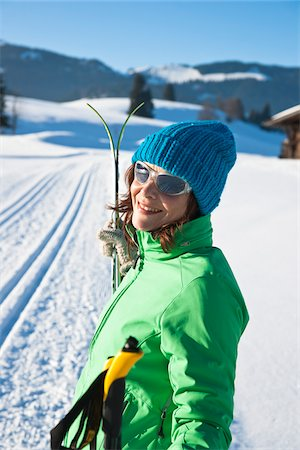 fitness   mature woman - Woman Outdoors with Cross Country Skis Stock Photo - Rights-Managed, Code: 700-03739256