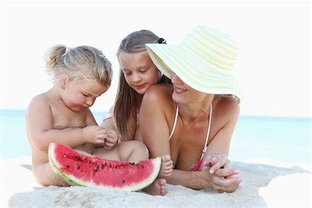 Mother and Daughters on Beach Stock Photo - Rights-Managed, Code: 700-03739332