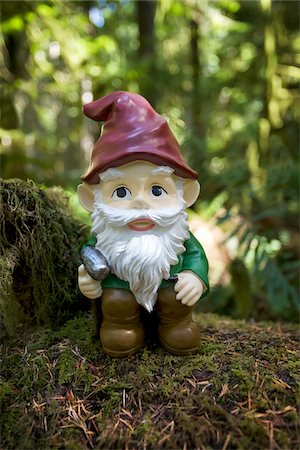 dwarf - Garden Gnome in Forest Stock Photo - Rights-Managed, Code: 700-03739358